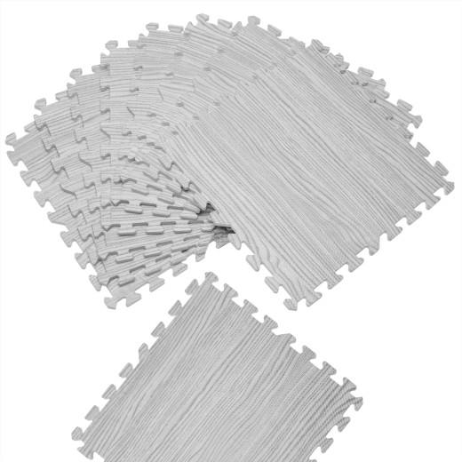 Bodenschutz-/Puzzlematte 8tlg. Grau Holzoptik 172x87x1cm