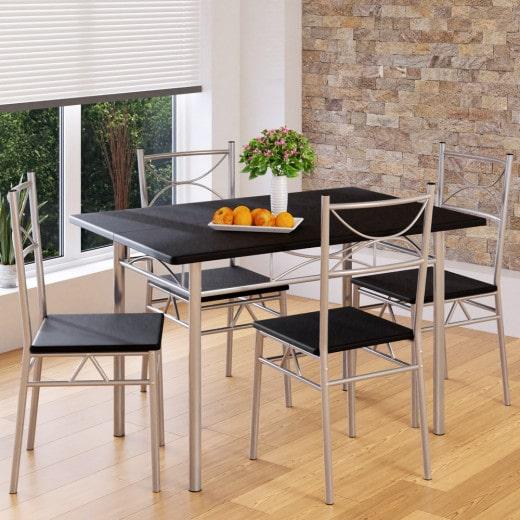 5 tlg. Sitzgruppe »Paul« - Esstisch + 4 Stühle - Schwarz