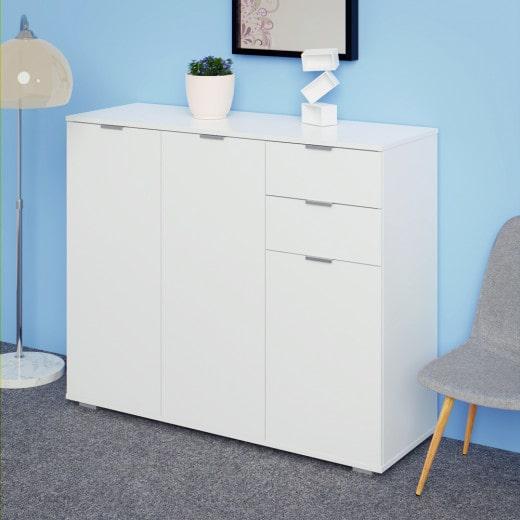 """Highboard """"Alba"""" in weiß mit 3 Türen und Schubladen"""