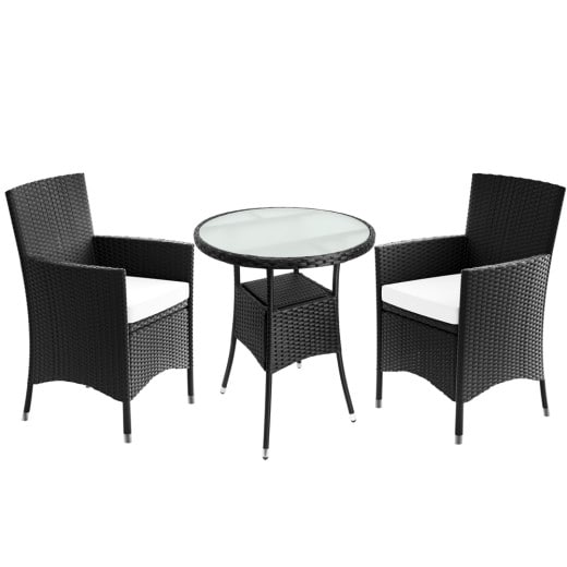 Polyrattan Rundtisch, 2 Stühle inklusive Sitzauflagen