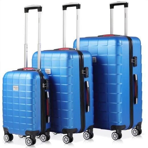 Koffer Hartschale 3 tlg. Exopack Blau M/L/XL aus ABS 40l, 80l, 105l