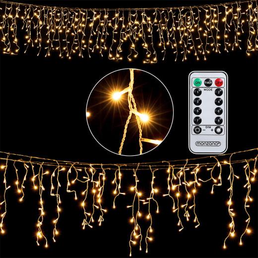Regenlichterkette 10m mit 200 LEDs Warmweiß mit Fernbedienung