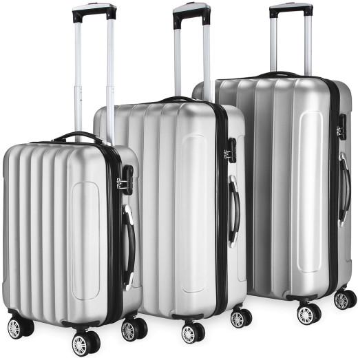 Koffer Hartschale 3 tlg. Business Silber M/L/XL aus ABS 42l, 66l, 98l