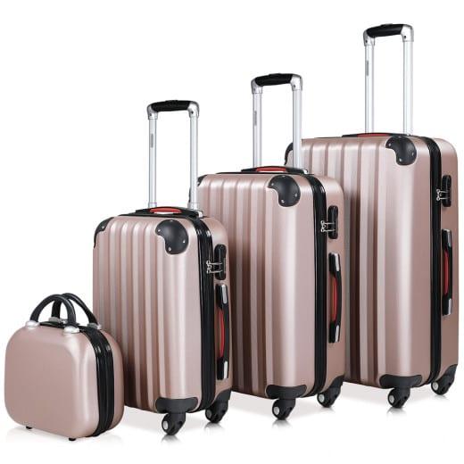 Koffer Hartschale 4 tlg. Baseline Rosé Beautycase/M/L/XL aus ABS 12l, 34l, 59l, 89l