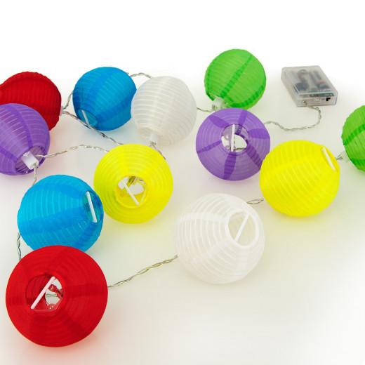 LED Lampion-Lichterkette - 12 Lampions in 6 Farben