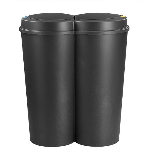 Doppelmülleimer Schwarz Kunststoff 2x25L