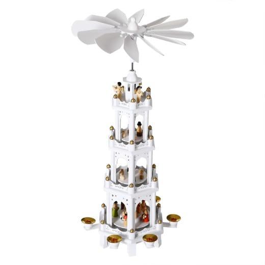 Weihnachtspyramide XL in edlem Holzdesign weiß