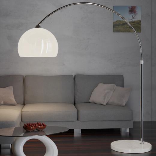 Bogenlampe mit Marmorsockel und Couch 146-220cm verstellbar