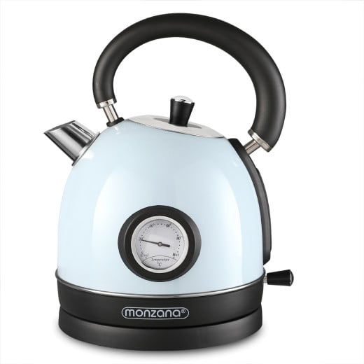 Wasserkocher Edelstahl im Retro Design 2200W 1,8l Blau