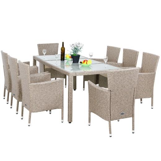 Polyrattan Sitzgarnitur beige, Tisch und 8 Stühle inklusive Auflagen