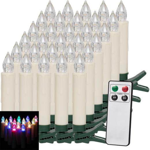 30er Set LED Weihnachtsbaumkerzen mit Fernbedienung Mehrfarbig