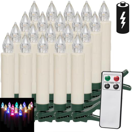 20 x LED Weihnachtsbaumkerze mit Fernbedienung Mehrfarbig
