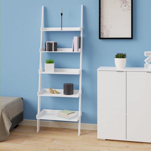 Leiterregal Treppenregal weiß mit 5 Böden 180cm