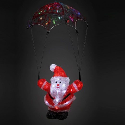 LED Acryl Figur Weihnachtsmann mit Fallschirm