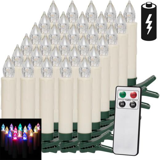30 x LED Weihnachtsbaumkerze mit Fernbedienung Mehrfarbig
