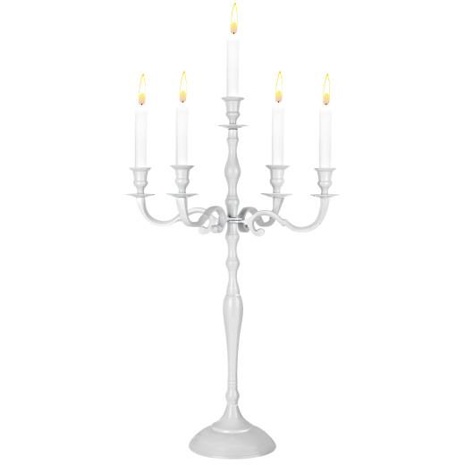5-armige Kerzenleuchter aus Aluminium in weiß Hochglanz