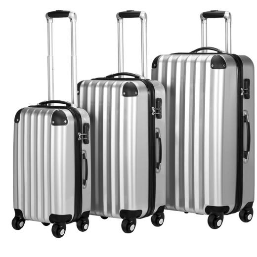 Koffer Hartschale 3 tlg. Silber M/L/XL aus ABS 36l, 59l, 89l inkl. Waage