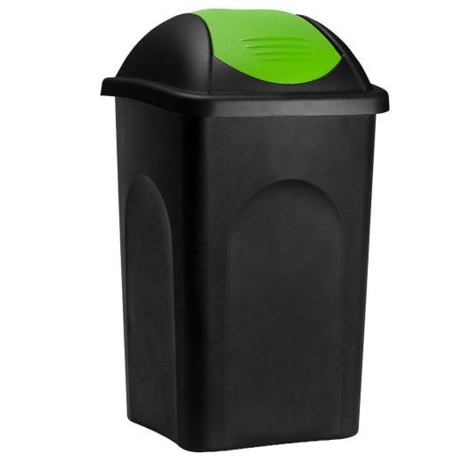 Mülleimer Schwarz/Grün Kunststoff 60L