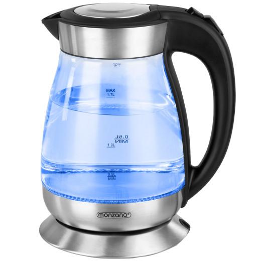 Wasserkocher Schwarz/Silber Glas/Edelstahl 1,7L