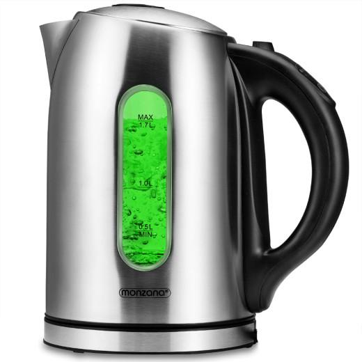 Wasserkocher Edelstahl mit LED-Farbwechsel 2200W 1,7l Schwarz-Silber