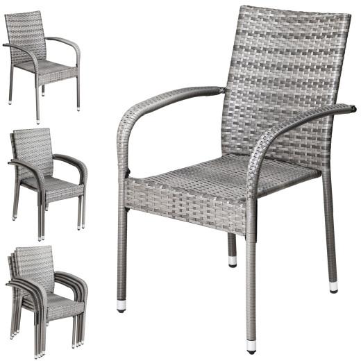 Polyrattan Stapelstuhl Comfort 4er-Set Grau