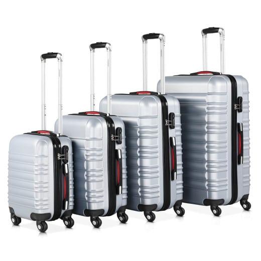 Koffer Hartschale 4-tlg. Silber S/M/L/XL aus ABS 34l, 55l, 84l, 120l