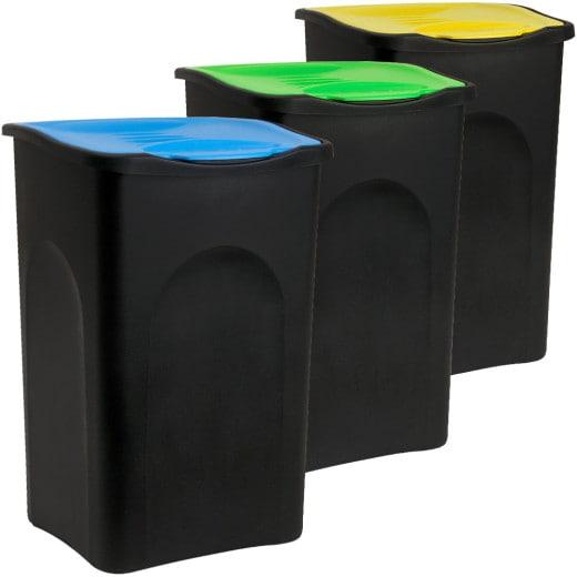 Mülleimer mit Deckel 3 tlg. Kunststoff Blau/Grün/Gelb 50 Liter