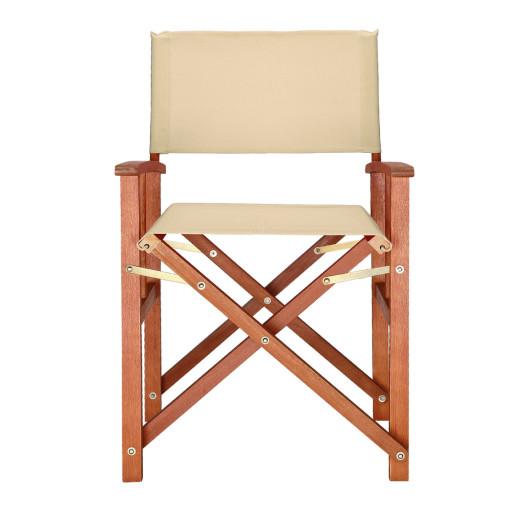 "Regiestuhl ""Cannes"" in Creme Eukalyptus Holz"