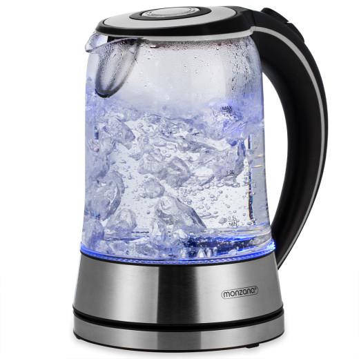 Wasserkocher Silber/Schwarz Glas/Edelstahl 1,7L