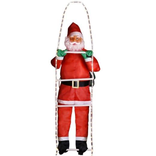 Weihnachtsmann auf Leiter mit 48 LEDs