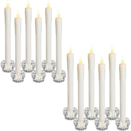 12 LED Tafelkerzen inklusive Kerzenhalter