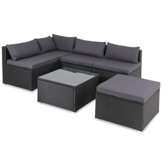 Polyrattan Lounge-Set 16-tlg. Schwarz-Anthrazit