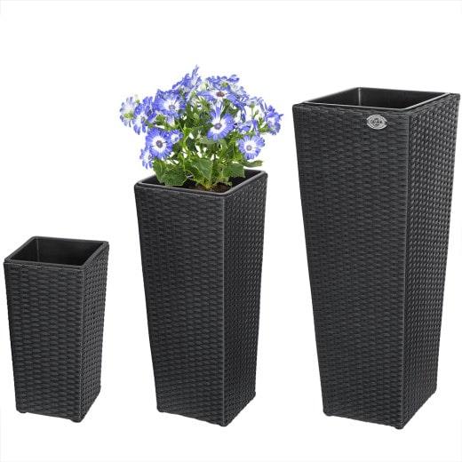 Polyrattan Blumentopf 3-tlg. Schwarz