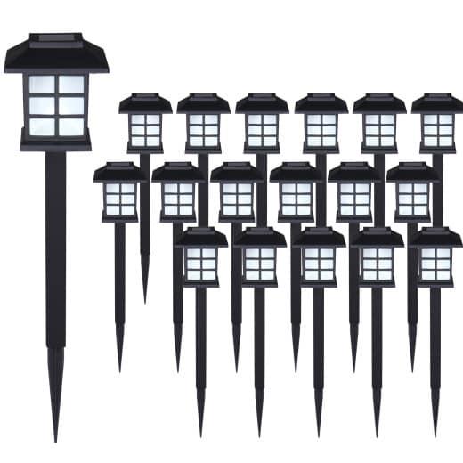 LED Solarleuchten 18er-Set Schwarz