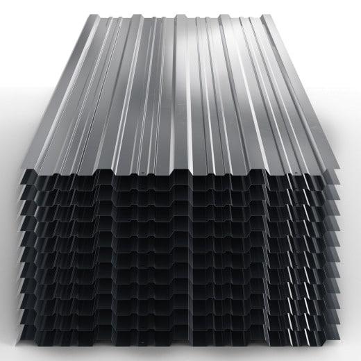 Trapezblech 12er-Set Grau 129x45cm