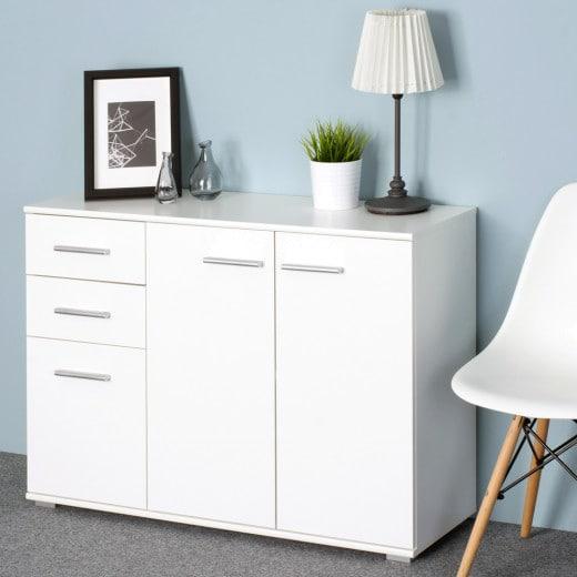 Sideboard Kommode Weiß mit 3 Türen und 2 Schubladen