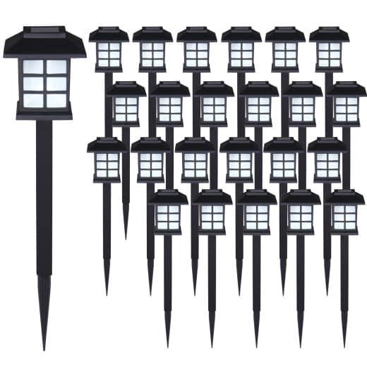 LED Solarleuchten 24er-Set Schwarz