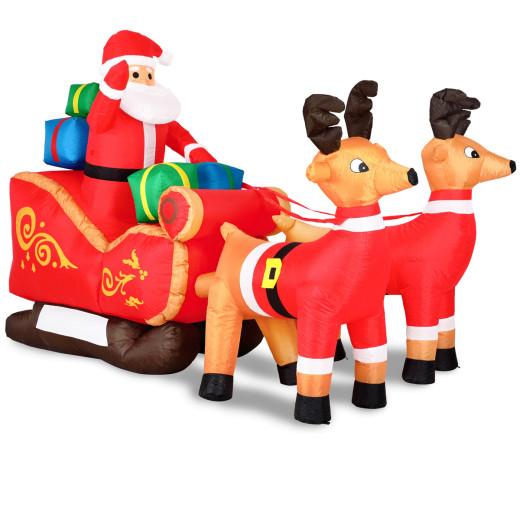 Aufblasbarer Weihnachtsmann mit Schlitten XXL Deko