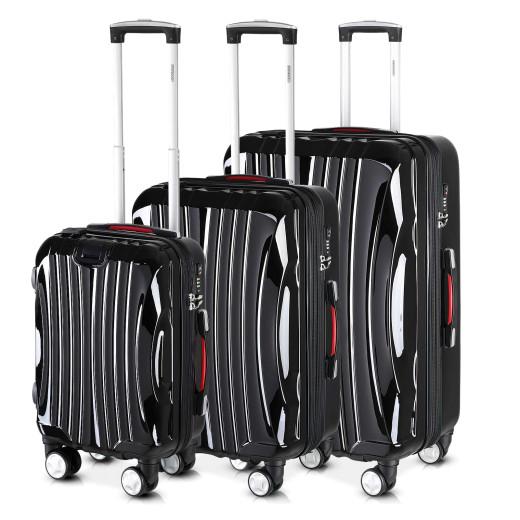 Koffer Hartschale 3 tlg. Ikarus Schwarz M/L/XL aus ABS 38l, 90l, 105l