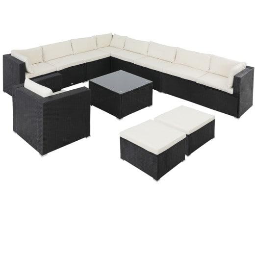 Polyrattan Lounge XXL 35-tlg. Schwarz-Creme