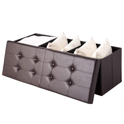 Faltbare Sitztruhe mit klappbarem Deckel in braun