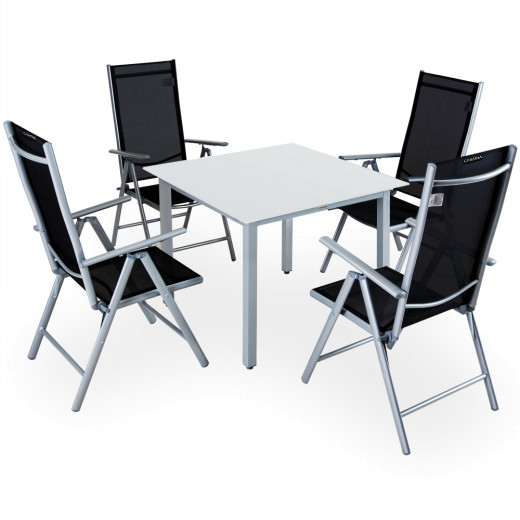 Sitzgruppe Bern 5-tlg. Silber Alu Milchglas