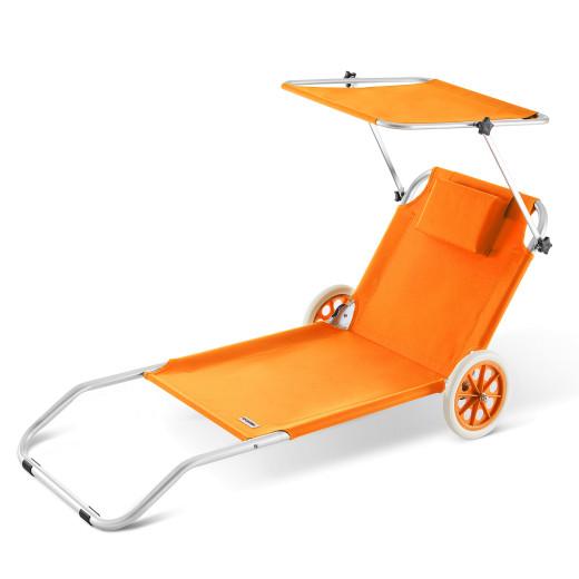 Sonnenliege Kreta Orange Alu mit Rollen